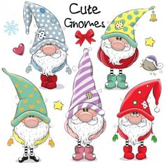 Set of Cute Cartoon Gnomes isolated on a white background - Guggi's Bastelwand - Karikatur Area Christmas Rock, Christmas Gnome, Christmas Crafts, Christmas Decorations, Christmas Ornaments, Diy Scrapbook, Scrapbooking, Cartoon Mignon, Black And White Cartoon
