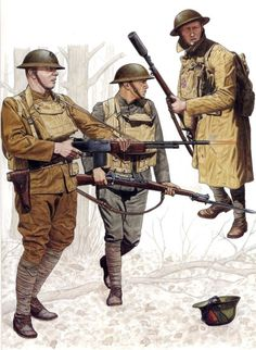 At the Argonne in late fall of 1918, to the right is a Marine grenadier of the 4th Marine Brigade. He is armed with an M1903 fitted with a French VB grenade launcher modified to fit the American rifle. He accompanies two Marines of the 5th Marine Brigade who make up a Browning Automatic Rifle team. Put into production in 1918, very few BARs made it to the front lines before theArmisticewas signed. Even in that short span, it more than proved its worth however.