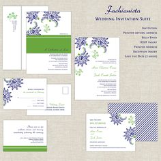 Wedding Invitation Suite in Kelly Green and Navy Blue Fashionista Design bold flowers with Belly Band. $322.50, via Etsy.