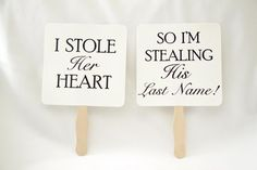 Set of Save the Date Engagement Picture Signs - Stolen Heart -$10.99