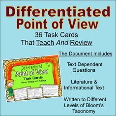 These 36 task cards are written at multiple levels of Bloom's Taxonomy. They thoroughly cover Common Core Point of View Standards RL.6 and RI.6. The task cards also contain helpful teaching tips to help students understand these standards. $