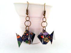 bijoux origami boucles d'oreille origami poison par papierelief