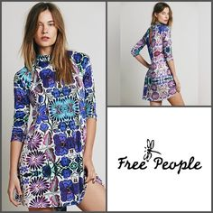 SALE HP People Floral Dress ✨Gorgeous Free People New Romantics Fiesta Floral Dress✨So Comfortable and Easy✨Looks Great With Boots and Tights✨NWTs✨Size Large Free People Dresses Mini