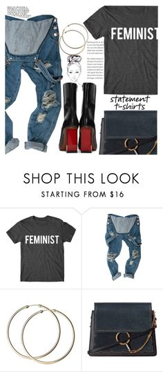 """Say What: Statement T-Shirts"" by indhrios ❤ liked on Polyvore featuring Chloé and Vetements"