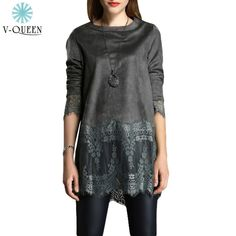 2015 Women Suede Blouse Floral Lace Insert Patchwork Long Sleeve Casual Shift Elegant Ladies Tops Fall Blusas Femininas B1512010