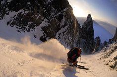 Skiing Polar Star Couloir