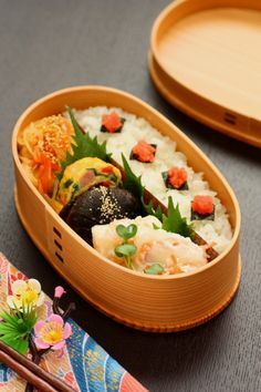 Japanese Wappa Bento Lunch (Rice w/ Tarako Cod Roe, Cooked Shiitake Mushroom, Egg Roll, Veggies)|わっぱ弁当