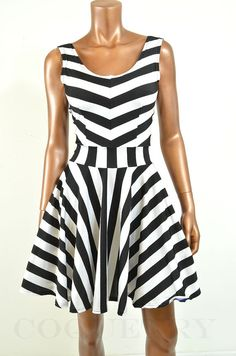 Black & White Stripe Tank Sleeve Fit and Flare by CoquetryClothing