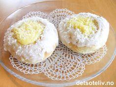 Skolebrød med eggekrem | Det søte liv Powdered Sugar, Coconut, Cooking Recipes, Breakfast, Sweet, Food, Egg Yolks, 1 Cup, Buns