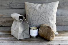 Italic Gift Set Small // Waxed Grey Brown Bag Lunchbag + your choice of any Pillow + any 8oz Candle  $45.00