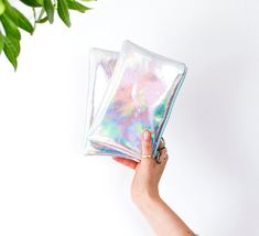 Holographic Leather Pouch Hologram Leather Purse by gmaloudesigns