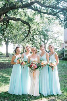 photo: Aaron & Jillian Photography; blue bridesmaid dresses idea;