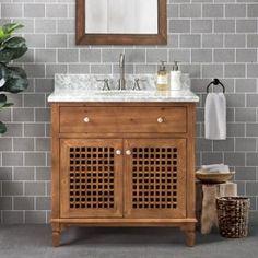 Bathroom Vanities - Walmart.com Single Sink Bathroom Vanity, Wood Bathroom, Vanity Sink, Granite Vanity Tops, Marble Vanity Tops, Dark Brown Cabinets, Modern Coastal, Coastal Style, White Washed Oak