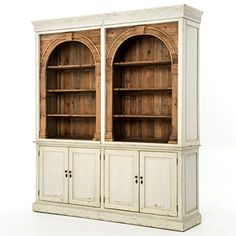 Antique style and modern design are reflected in the functional Swedish Grey Stanford Reclaimed Wood China Cabinet Hutch. This hutch cabinet features eco-friendly construction and classic architectural domed arches for charming French style home decor. Country Furniture, Home Furniture, Painted Furniture, Furniture Ideas, Bedroom Furniture, Entryway Furniture, Cabinet Furniture, Farmhouse Furniture, Furniture Outlet