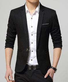 One Button Pocket Design Lapel Long Sleeve Slimming Modish Cotton Blend Blazer For Men