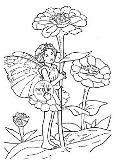 flower fairy zinnia coloring page for kids for girls coloring pages printables free wuppsy - Coloring Pages Fairies Flowers