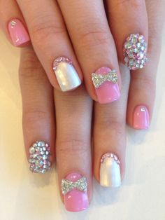 Rhinestone encrusted feature nails with 1-pc bow rhinestone jems. Colours are from Bio Sculpture Gel: #2001 - Silky Satin and pink shade was a colour combo of #68 - Rose & #108 - Pink Grapefruit