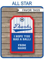 All Star Party Favor Tags Template
