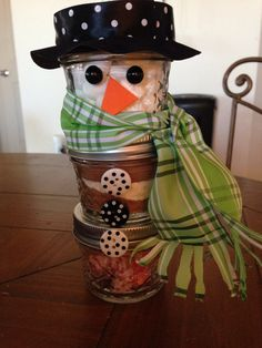 Hot chocolate ingredient snowman - 4oz. Mason jars with peppermints, nestle quik & powder creamer, and marshmallows