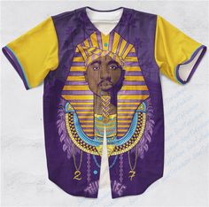 Real AMERICAN USA Size Custom made Fashion 3D Sublimation Print Tupac Pharaoh - Thug Life Baseball Jersey Plus Size #Affiliate