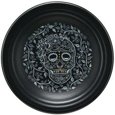 Fiesta Skull and Vine Luncheon Plate in Black ($21) ❤ liked on Polyvore featuring home, kitchen & dining, dinnerware, black dinnerware, fiesta dinnerware, everyday dinnerware, skull dinnerware and fiesta luncheon plate