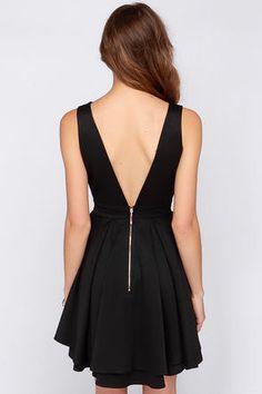 Sexy Black Dress - Backless Dress - Skater Dress - Mint Green Dress - $55.00