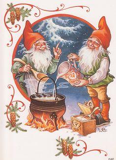 "Photo from album ""Lars Carlsson"" on Yandex. Norwegian Christmas, Swedish Christmas, Christmas Gnome, Scandinavian Christmas, Vintage Christmas, David The Gnome, Kobold, Christmas Illustration, Christmas Pictures"