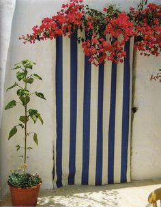 """Stripes and bougainvillea at the Patmos house of interior designer John Stefanidis, by Fritz von der Schulenburg"""