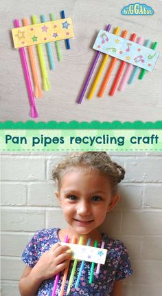 Drinking Straw Pan Pipes - Recycling Craft - Tea Time Monkeys : Drinking straw panpipes recycling craft - Biggabug Don´t throw away those old drinking straws; re-use them to make some fun pan pipes! It´s also great size sorting practice for little ones! Recycled Crafts Kids, Diy Crafts For Kids, Kids Crafts, Craft Kids, Preschool Crafts, Toddler Activities, Preschool Activities, Music Activities For Kids, Instrument Craft