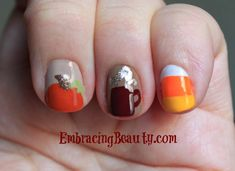 These nail designs are perfect to welcome in fall. A pretty pumpkin, a warm cup of joe (or apple cider!), and a sweet candy corn. Choosing what colors I was going to use took me longer than the actual nail designs did. I'm pretty sure that anyone with basic nail painting abilities and