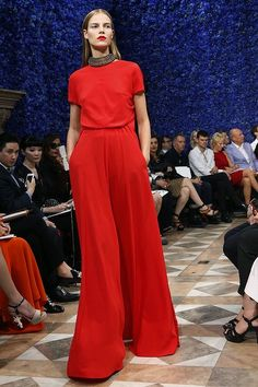 A model presents a creation by Belgian designer Raf Simons for Christian Dior.