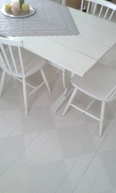 Ruudullinen maalattu lautalattia. Dining Table, Furniture, Home Decor, Decoration Home, Room Decor, Dinner Table, Home Furnishings, Dining Room Table, Diner Table