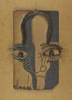 José de Almada Negreiros Autorretrato em arame]», 1940, arame, tinta da China e aguada sobre cartão.