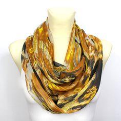 Yellow Unique Scarf - Infinity Fashion Scarf - Loop Scarf - Circle Fabric Scarf - Women Shawl - Tube Unique Scarf - Printed Boho Scarf