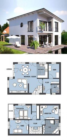 Einfamilienhaus mit Pultdach - Fertighaus Hommage 136 PD von Hanlo Haus - Moderne Stadtvilla bauen Grundriss offene Küche Loggia Balkon - HausbauDirekt.de