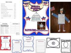 This 21 page presidential pack is perfect for your primary learners.  Included is a suggested book list, song, posters, circle and double bubble maps, facts about president worksheet, four different writing sheets for K-2nd grade to go with craftivity, templates, directions, and student examples for craftivity.
