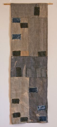 "Las Vegas Foreclosure Quilt, 2011. 12"" x 36"" Recycled denim, wool, yarn and embroidery thread on bleached linen. SOLD by kikiclark, via Flickr"