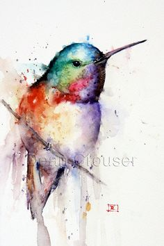 images of watercolor hummingbirds and flowers | HUMMINGBIRD Watercolor Print by DeanCrouserArt