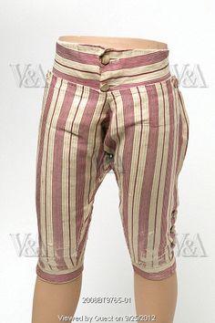 Striped breeches. Silk and cotton blend. Britain, c.1760.