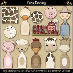 AASD9598 Farm Bowling Clip Art Download - $3.50 : Scrappin Doodles, Creative Clip Art, Websets & More