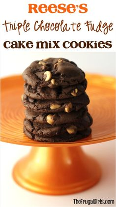 Reese's Triple Chocolate Fudge Cake Mix Cookies Recipe! ~ from TheFrugalGirls.com ~ just 4 ingredients in this Reeses Cookie + a few minutes of effort = SO worth it!! #recipes #thefrugalgirls