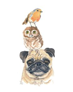 Original Animal Watercolor  Pug Dog Watercolour by WaterInMyPaint, $50.00