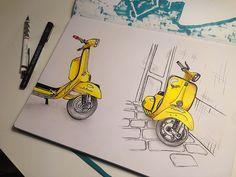 Yellow Vespa. Sketching