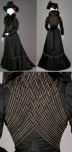 Ensemble, LaFerrière, Paris, 1900. Suit of black ribbed silk. Jacket is waist-length, with wide collar, left front button closure, and long puffed sleeves, trimmed with panels of black and yellow wool. Skirt is floor-length, also trimmed in black and yellow wool embroidery, with slight train in back. Thin waistband and hook-and-eye closure at center back.
