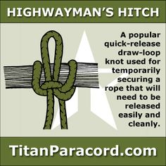 The Highwayman's Hitch is a quick-release draw loop knot used for temporarily securing a rope that will need to be released easily and cleanly. The hitch can be untied with a tug of the working end. The line does not need to be pulled from around the object.