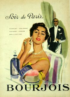 1955 ad for French perfume Bourjois Soir de Paris. Bourjois Perfume, Perfume Ad, Perfume Bottles, Perfumes Vintage, Vintage Makeup, Vintage Beauty, Vintage Advertising Posters, Vintage Travel Posters, Vintage Advertisements