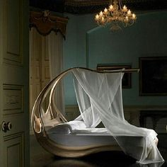 Canopy bed design for romantic bedroom interior by joseph walsh Wooden Canopy Bed, Canopy Beds, Canopy Bedroom, Tree Canopy, Beach Canopy, Canopy Curtains, Backyard Canopy, Garden Canopy, Fabric Canopy