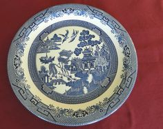 AROUND PLATTER/SERVING PLATE-CHURCHILL MADE IN STAFFORDSHIRE ENGLAND-BLUE WILLOW #CHURCHILL