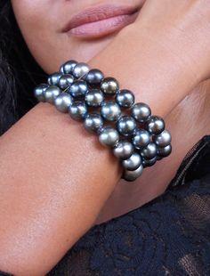 Semi round C export grade grey pearls. Pearl Bracelet, Pearl Jewelry, Tahitian Black Pearls, Loose Pearls, Pearl Grey, Costume Jewelry, Beautiful, Diamond, Bracelets