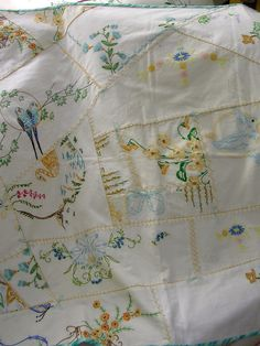 Baby Quilt From Pieces of Vintage EmbroideryFree by QuiltAttic, $64.00